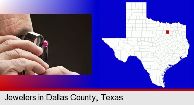a jeweler examining a jewel; Dallas County highlighted in red on a map